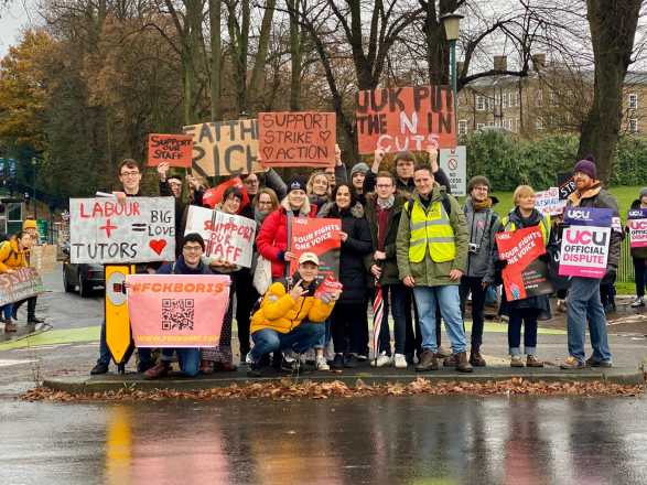 Strikers on the picket line, November 2019