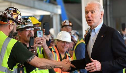 Biden with workers