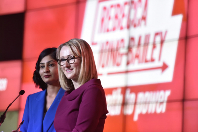 Rebecca Long-Bailey on stage, at a leadership rally
