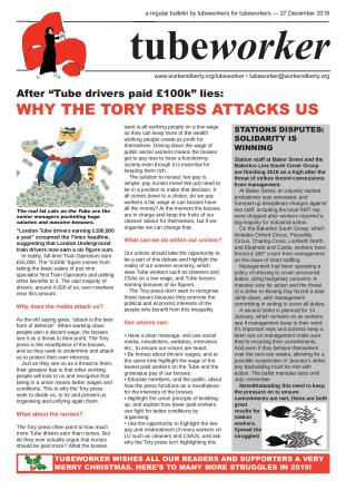 Tubeworker — 27/12/2018: Tube drivers on £100k? Why the press attack us