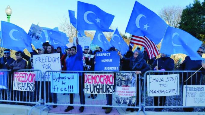 Uyghurs protesting in the USA