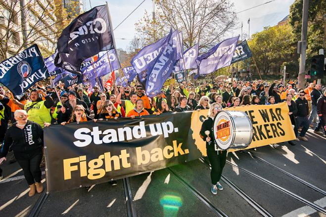 Stand up fight back protest. Photo by ETU Victoria