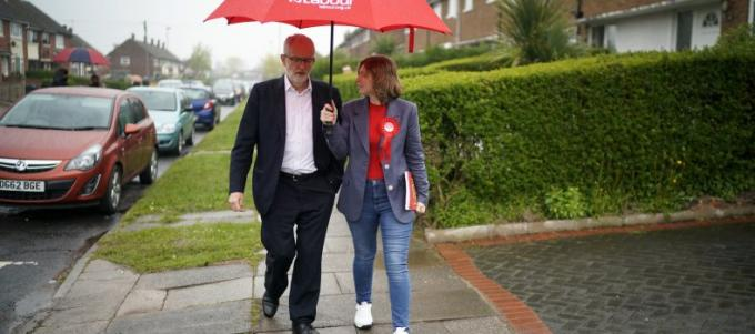 corbyn in the rain