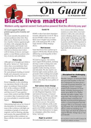 Front cover of On Guard bulletin. Headline: Black lives matter!