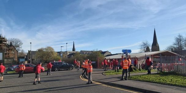Postal workers on strike in Alloa, Clackmannanshire, over junk mail and safety