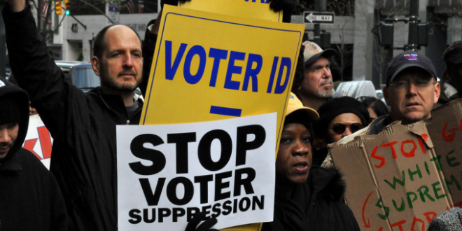 Voting rights protest in US