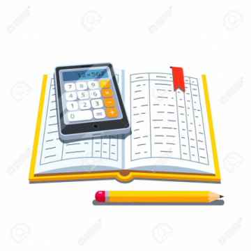 A graphic of an open account ledger with a calculator and pencil