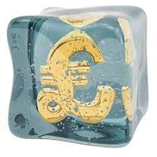 Picture shows a pound symbol frozen inside a block of ice