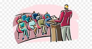 An illustration depicting an Annual General Meeting, with a speaker addressing delegates from a rostrum