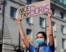 NHS worker protesting