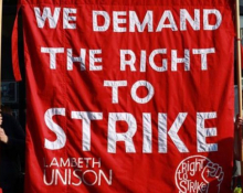 Right to strike banner