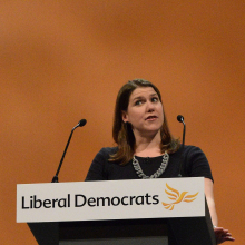 Jo Swinson talking at a podium