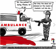 Kashmir cartoon about the attacking of ambulances and hospitals