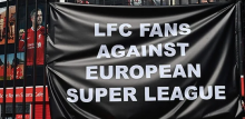 Fans against the Super League banner