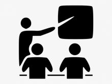 A graphic showing a figure pointing to a blackboard in front of two students