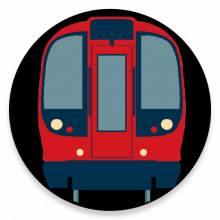 A graphic illustration of a Tube train