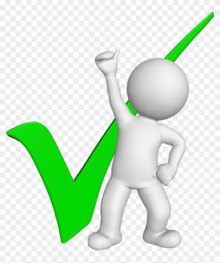 A cartoon figure raising their fist next to a large green tick