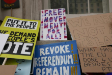 Left-wing anti-Brexit placards