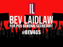 Poster for Bev Laidlaw's General Secretary campaign