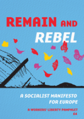 "Pamphlet Cover ""Remain and Rebel"" on a blue background above multi-coloured butterflies over the torn down barbed wire fences of ""Fortress Europe"""