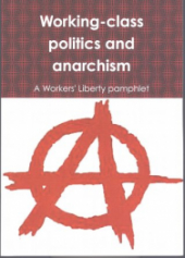 "Book Cover ""Working-Class Politics and Anarchism: A Workers Liberty Pamphlet"" in white text over a patterned background. Below the anarchist ""A"" in red on a white background."