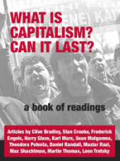 "Book Cover ""What is Capitalism? Can it last?"" over a black and white photo of protestors shouting"