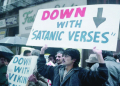 Down with Satanic Verses placard
