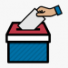 A cartoon image of a hand placing a paper into a ballot box.