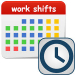 "A graphic of a calendar titled ""Work Shifts"", overlaid with a graphic of a clock"